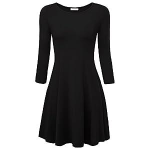 BAISHENGGT Damen Skaterkleid Rundhals Fattern Stretch Basic Kleider