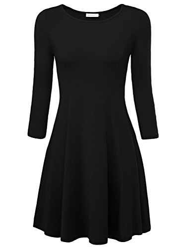 BaiShengGT Damen Skaterkleid Rundhals 3/4-Arm Fattern Stretch Basic Kleider Schwarz S (Fit-n-flare Dress)