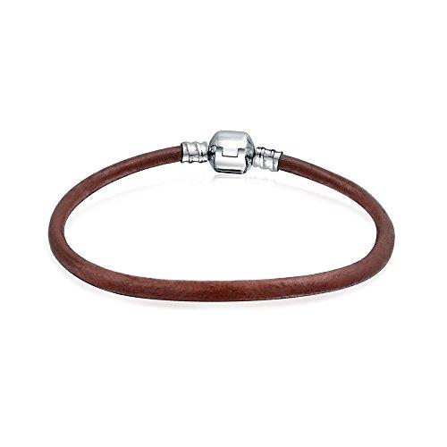 Bling Jewelry Starter Braun Leder Strangarmband Für Damen Für Jugendlich Passt Europäischen Perlen Charm 925 Sterling Silber 6.5 Zoll