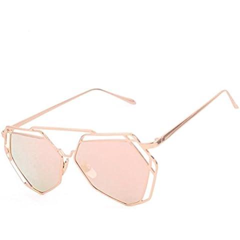 Fortan Gafas de sol del metal marco del espejo Reflexión De lente gafas de sol (oro rosa)