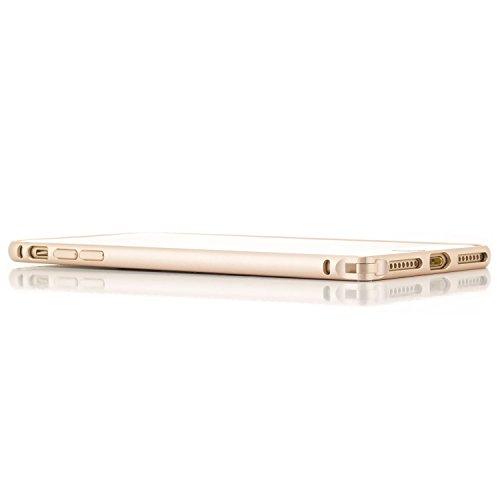 Coque aluminium + 2x Verre Trempé Apple iPhone 7 [Saxonia] Métal Housse Bumper rigide Ultra-mince (Jack) Noir (Jet Black) Or