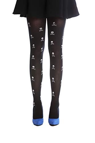 DRESS ME UP - W-018 Panti Medias Carnaval Halloween negro huesos y calaveras blancas para bruja vampira punky gotico emo S/M