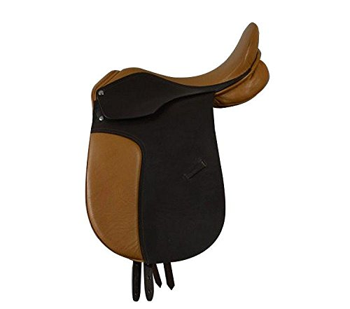 Campale Dressursattel Oxford 17 Zoll Leder Pferdesattel Pferd Dressur Sattel (Kammerweite 16,5 cm)