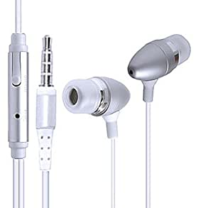 Wayzon Silver Noise Isolating Sensational Sound In Ear Stereo Hands-free Headset Headphone Earphone With Microphone Mic In-Line-Remote Suitable For Apple iPad Air Wi-Fi only and no GPS support + Cellular with 3G/LTE support / Amazon Kindle Fire HDX 8.9