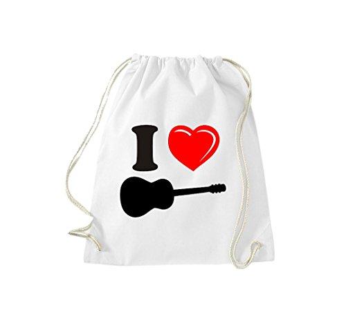 Krokodil Turnbeutel I love Gitarre Flamenco Musik Gymsack Kultsack weiß (Weiß Flamenco-rock)
