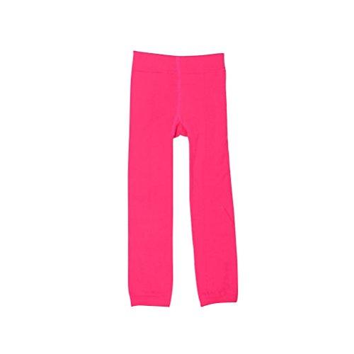 BESTOYARD Girls Winter Warm Velvet Lined Tights Trousers Kids Elastic Thick Leggings Ninth Pants For 5-7 Years Old (Rose Red)