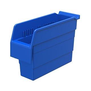 Akro-Mils 30840 ShelfMax 8 Plastic Nesting Shelf Bin Box, 12-Inch x 4-Inch x 8-Inch, Blue, 16-Pack