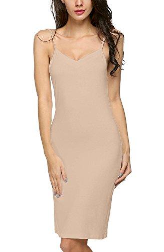 Avidlove Damen Unterkleid Frauen Unterröcke Nachthemd Nachtwäsche sexy Negligee Miederkleid mit Trägern Shapewear Kleider, Hautfarbe, XL(EU 48-50)