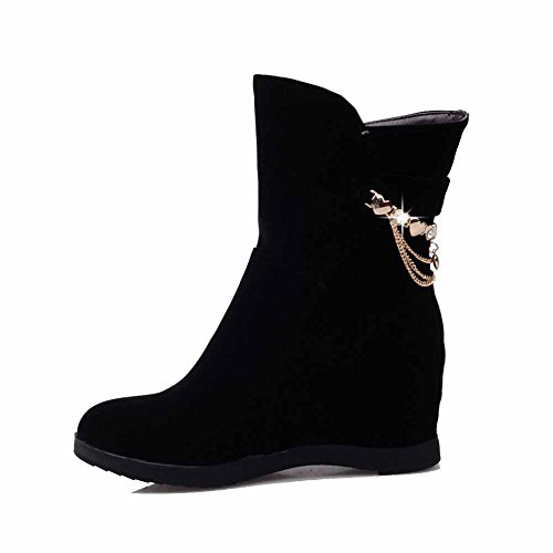 AllhqFashion Damen PU Hoher Absatz Rund Zehe Ziehen auf Stiefel mit Schleife, Rot-Schleife, 37
