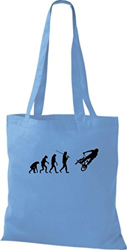 Shirtinstyle Borsa Di Stoffa Jute Evolution Moto Bike Biking Stunt Freebike Biker Vari Colori Azzurro