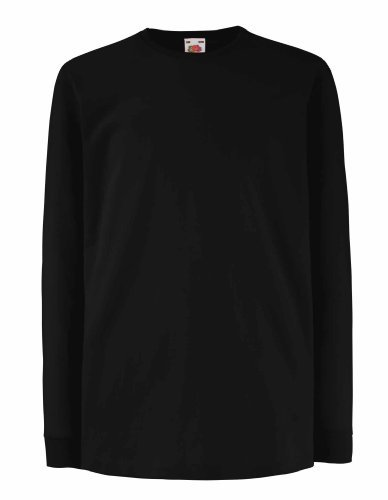 FRUIT-OF-THE-LOOM-CHILDRENS-LONG-SLEEVE-T-SHIRT-5-COLOURS-AGE-911-BLACK