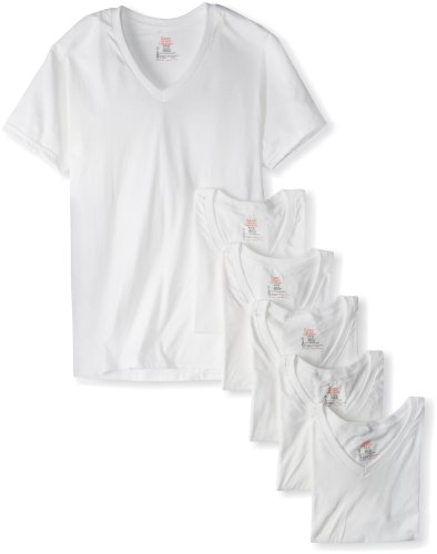 Hanes Men's 7880w6 6 Pack Ultimate V-Neck T-Shirt
