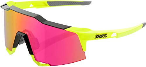 100% Speedcraft Mirror Glasses Tall Polished Black/Fluo Yellow 2019 Fahrradbrille