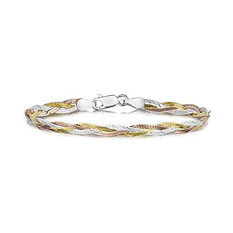 Amberta 925 Sterlingsilber Armkette - Herringbone-Kette Armband - Fischgrätkette - 5 mm Breite - 19 cm