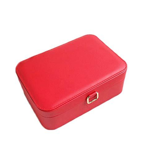 Frauen High-End-Portable Schmuck-Box Prinzessin Reise-Spiegel-Tasche Kleine Ring Schmuck Aufbewahrungsbox Kosmetik-Etui Likeskyo (Color : Red, Size : Free size) -