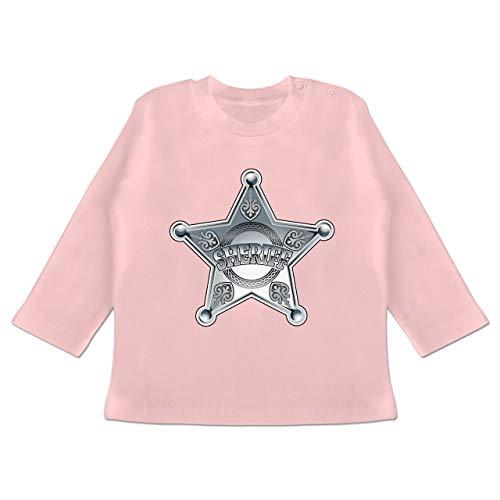Karneval und Fasching Baby - Cowboy Sheriff Karneval Kostüm - 6-12 Monate - Babyrosa - BZ11 - Baby T-Shirt Langarm (Gruppe Kostüme Ideen Für 8)