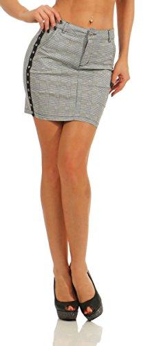 Fashion4Young 11431 Damen Karo Rock Minirock Pencil Skirt Kariert Business Slimline Bodycon Bleistiftrock (grau, S-36)