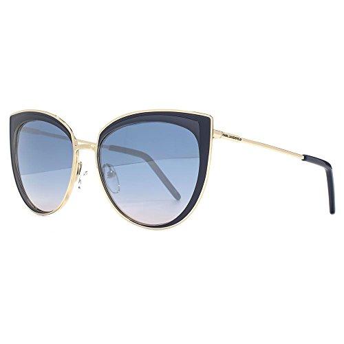Karl Lagerfeld Metall Cateye Sonnenbrillen in glänzendem Licht Gold blau KL255S 532 55 55 Blue Gradient Silver