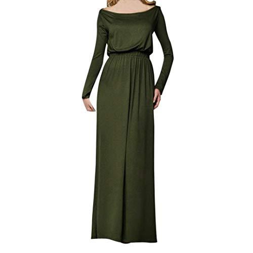 Elecenty Solide Maxikleid Damen,Frauen Reizvolle Strandkleid Langarmkleid Langarm Herbstkleid Knöchellänge Partykleid Abendkleid