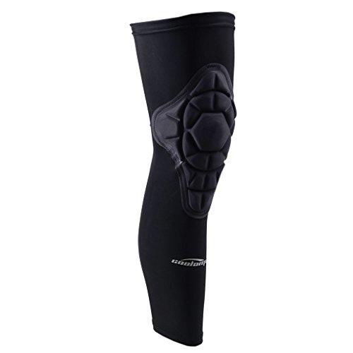 COOLOMG Ginocchiera da pallavolo, 1 pezzo, con gambaletto protettivo comprimente per il ginocchio, per adolescenti, nero, S - XL, Black, S