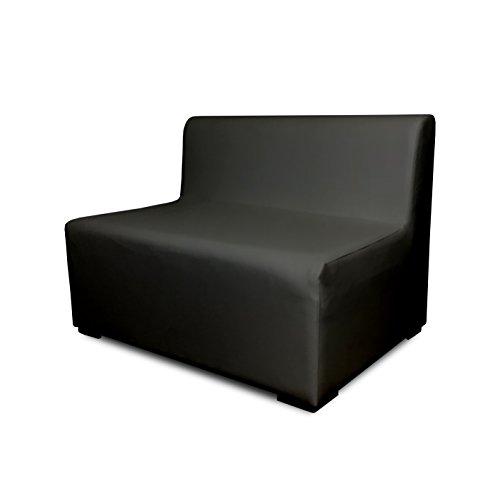 SuenosZzz-Sofa Exterior Modular Benahavis 2 Plazas Color Ceniza tapizado en Polipiel Silva. Chill out Jardin o recepcion.