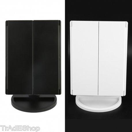 Trade Shop traesio- Kosmetikspiegel beleuchtet 22LED Notebook 4Spiegel Make Up 1x 2x 3x 180°