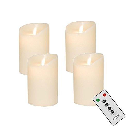 4er Adventskranzset! Sompex De la llama velas LED V14 marfil 12,5 cm con mando a distancia