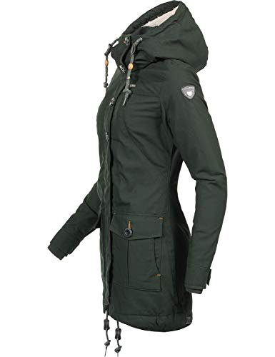 Ragwear Damen Wintermantel Winterparka Jane Black Label Grün Gr. M - 3