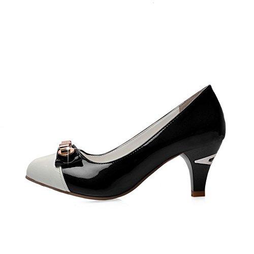 VogueZone009 Femme Rond Tire Pu Cuir Mosaïque à Talon Correct Chaussures Légeres Noir