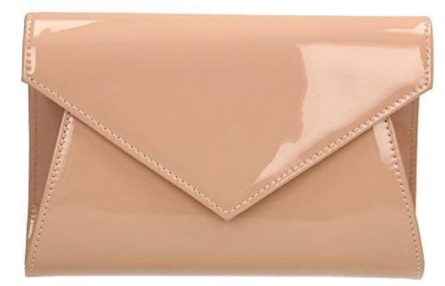 Chrissy Patent-Tasche für Party, Ball, Hochzeit, Night-Out–von SwankySwans, rosa - Pink Nude - Größe: One Size - Patent-leder-wildleder-clutch