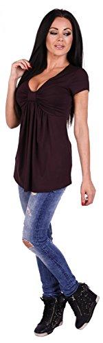 Zeta Ville - T-shirt Col en V Buste Noeud Plissé Taille Empire - Femme - 969z Chocolat