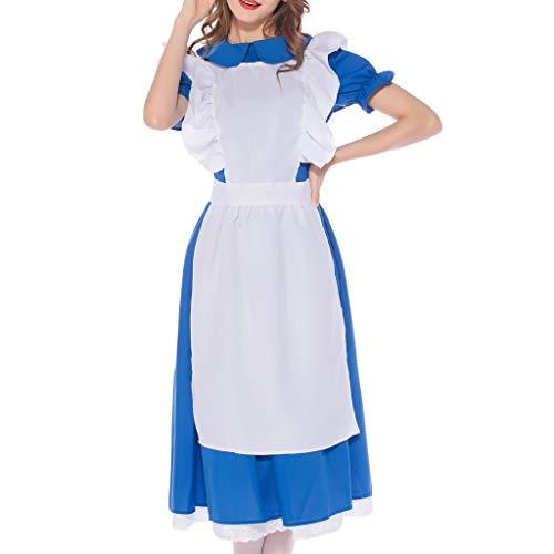 Kleid Lab Kostüm - Damen Bayerisches Traditionelle Bekleidung Oktoberfest 3tlg Miederkleider Frauen Kurzarm Biermädchen Dirndl Cosplay Kostüme Spitzenkleid Kleid + Kopfbedeckung + Schürze