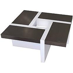 Mesa de Centro moderna bicolor de madera, Blanco marrón