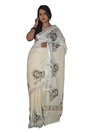Southloom Women's Kasavu Cotton Saree (ERPLCT-1107 K_Silver & Cream)