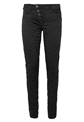 Rock Angel Damen Twill-Hose mit Knopfverschluss | Leichte Stretch Stoffhose in Rot & Schwarz Black XS -