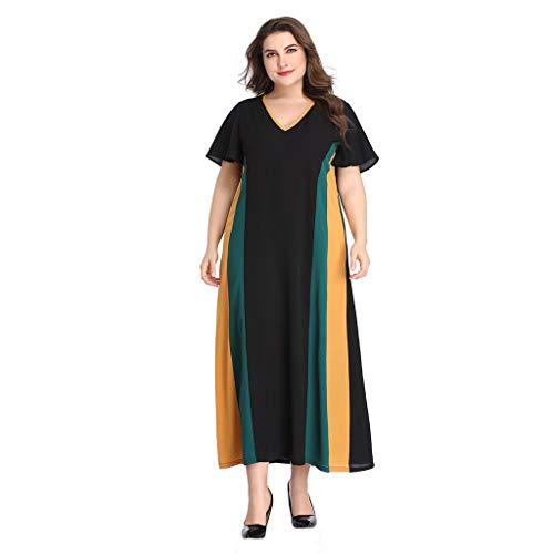 CUTUDE Damen Kleider Röcke Sommerkleider Elegant Plus Size Frauen Kurzarm Patchwork V-Ausschnitt Langes Abendkleid (Schwarz, ()