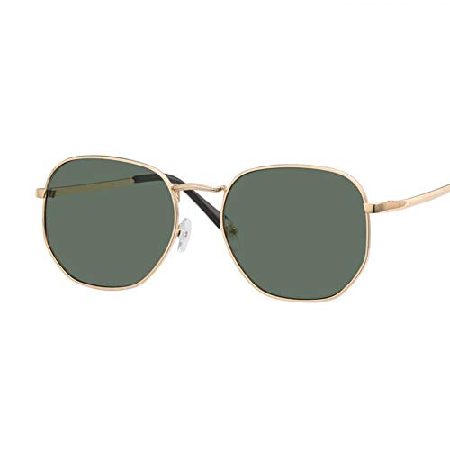 GAOHAITAO Black Square Hexagonal Sunglasses Men Flat Lens Designer Sun Glasses for Men Mirror Male Sunglasses Fashion,Gold Dark Green