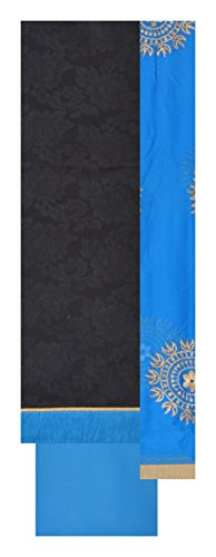 South Silk Sarees Women's Cotton Unstitched Dress Material (Black and Blue)