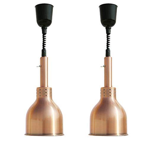 Lampada riscaldante per alimenti con lampadina 250w scaldavivande professionale lampada da cucina lampada di calore telescopica regolabile sollevamento buffet di barbecue luce, confezione da 2
