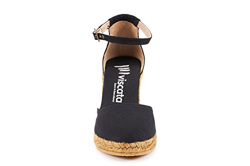 VISCATA Estartit Elegant Comfort, Canvas, Ankle-Strap, Closed Toe, Espadrilles with 3-inch Heel Made in Spain Noir - noir