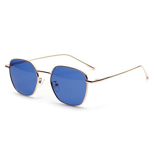WJFDSGYG Sonnenbrille Mens Cool Rechteckige Brille Frauen Kleine Farbe Objektiv Sonnenbrille Metallrahmen
