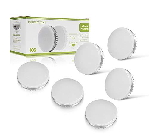 8W LED Einbauleuchten, Hakkatronics GX53 LED Glühbirne, 3000K Warmweiß, 230Vac, Nicht Dimmbar, 750lm(75w Halogenlampen Entsprechen), LED Einbaustr in flachen Deckenleuchten eingesetzt (6er Packung)