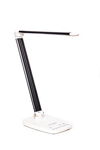 LED Schreibtischlampe - SCHWARZ - Tischlampe, Leselampe, Nachttischlampe - Dimmbar, 5 Helligkeitsstufen, Drehbarer Lampenkopf, mit USB Anschluss zum Aufladen von Handys und Smartphones BERTRONIC ®
