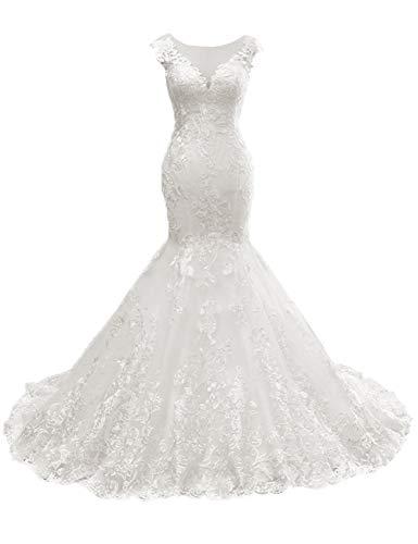HUINI Elegant Brautkleider Lang Spitzen Hochzeitskleid Meerjungfrau Brautmode Standesamt Brautkleid...