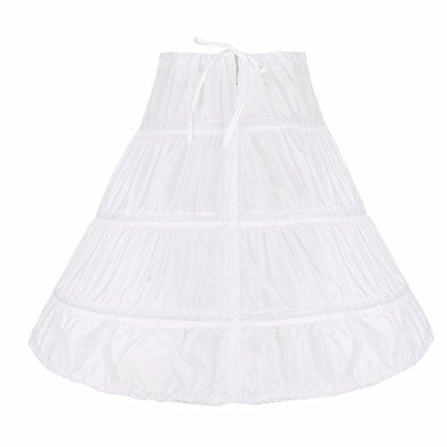 FEESHOW 3 Ringe Reifrock Petticoat Krinoline Unterrock für Hochzeit Brautkleid Blumenmädchenkleid Abendkleid Ballkleid Weiß 55 (Mädchen) -