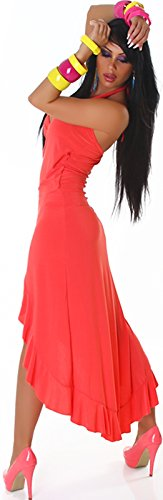 Jela London Damen Vokuhila Neckholder-Tanzkleid Abendkleid Latin Salsa Volant (34/36/38) Apricot