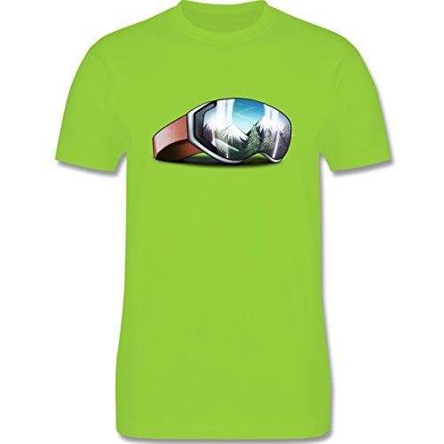 Wintersport - Skibrille - Herren Premium T-Shirt Hellgrün