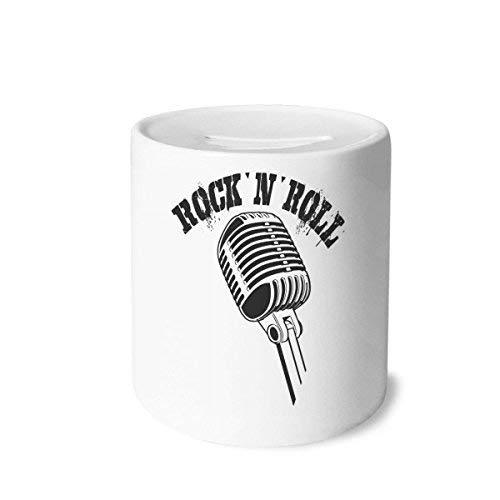 DIYthinker Mikrofon Illustrieren Musik Einfache Muster-Geld-Kasten Sparkassen Keramik Münzfach Kinder Erwachsene 3.5 Zoll in Height, 3.1 Zoll in Duruchmesser Mehrfarbig