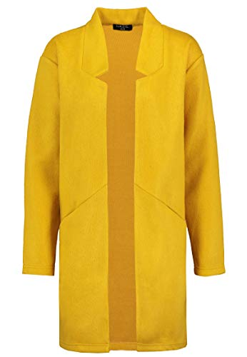 Sublevel Damen Mantel aus kuscheligem Sweat   Eleganter offener Mantel Yellow M