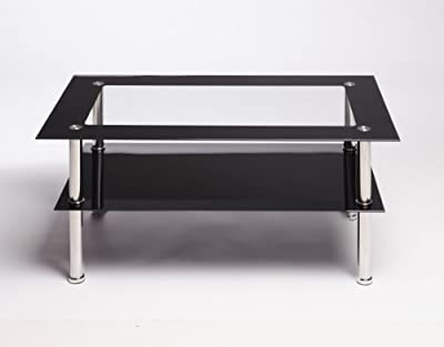 Black And Clear Rectangle Glass Stainless Steel Coffee Table